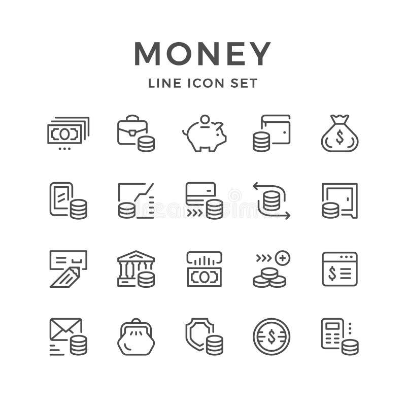 Placez la ligne icônes de l'argent illustration stock