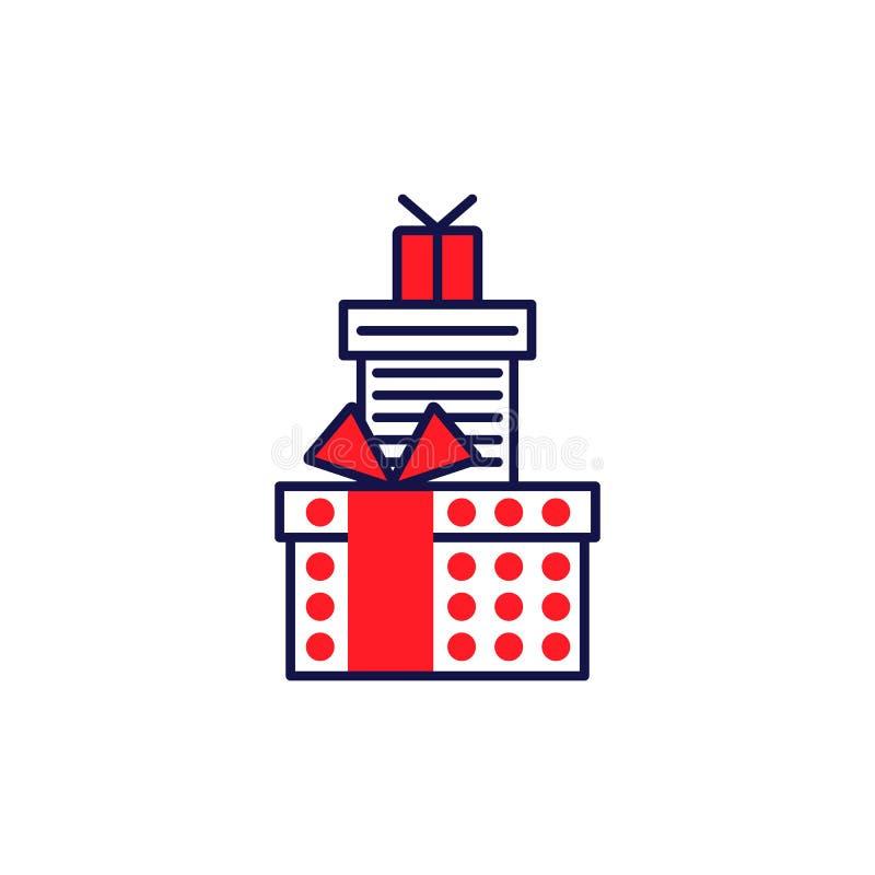 Placez la ligne icônes de style des cadeaux pictogramme simple illustration libre de droits