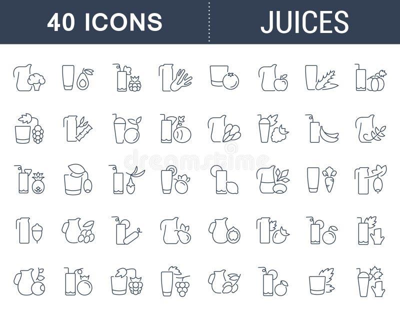 Placez la ligne icônes de vecteur des jus illustration stock