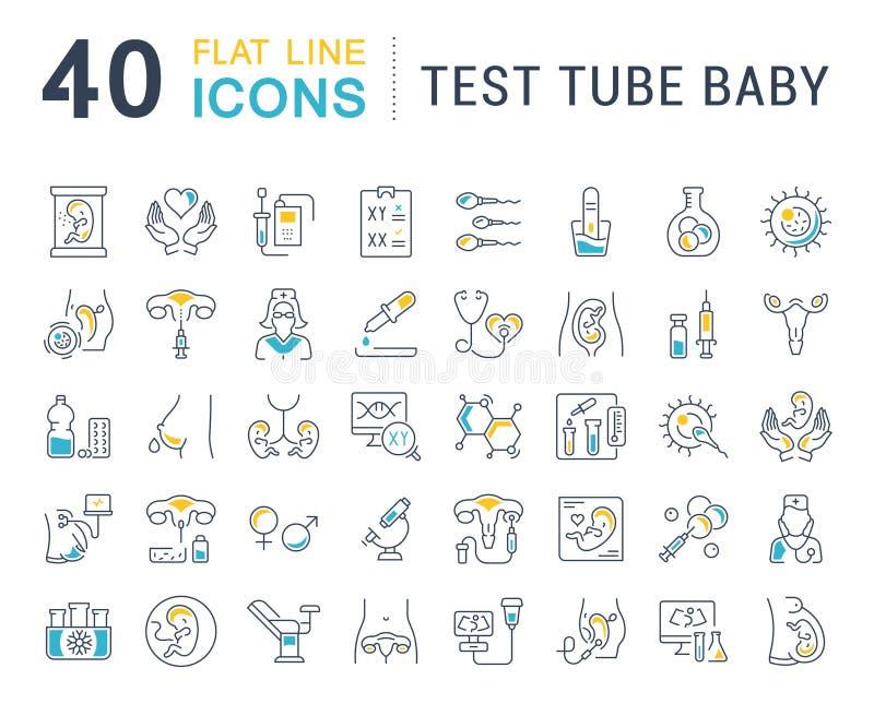 Placez la ligne icônes de vecteur du bébé de tube à essai illustration stock