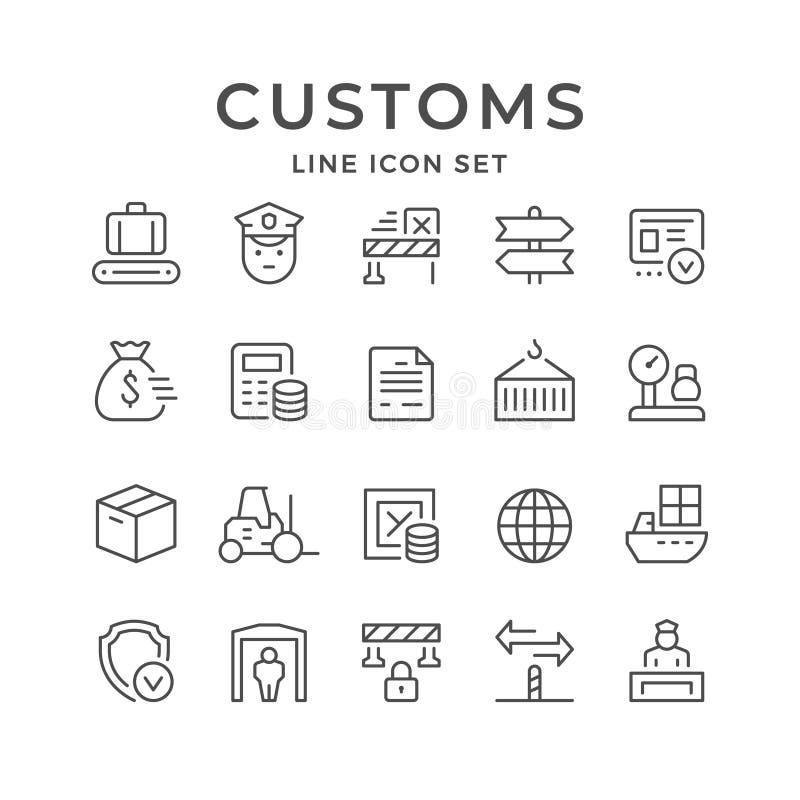 Placez la ligne icônes des coutumes illustration stock