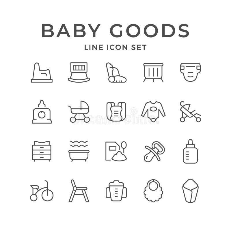 Placez la ligne icônes des marchandises de bébé illustration libre de droits