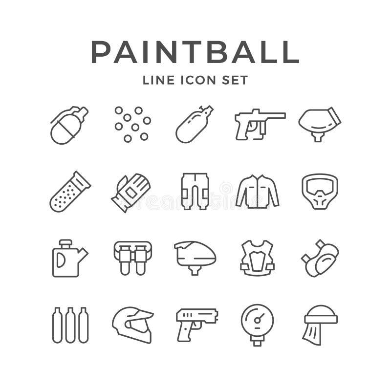 Placez la ligne icônes du paintball illustration de vecteur