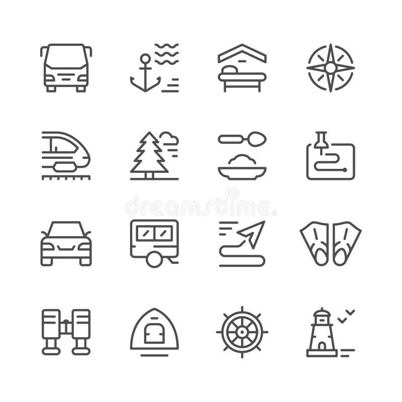 Placez la ligne icônes du voyage illustration libre de droits