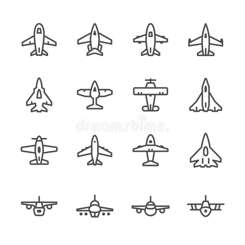 Placez la ligne icônes de l'avion illustration libre de droits