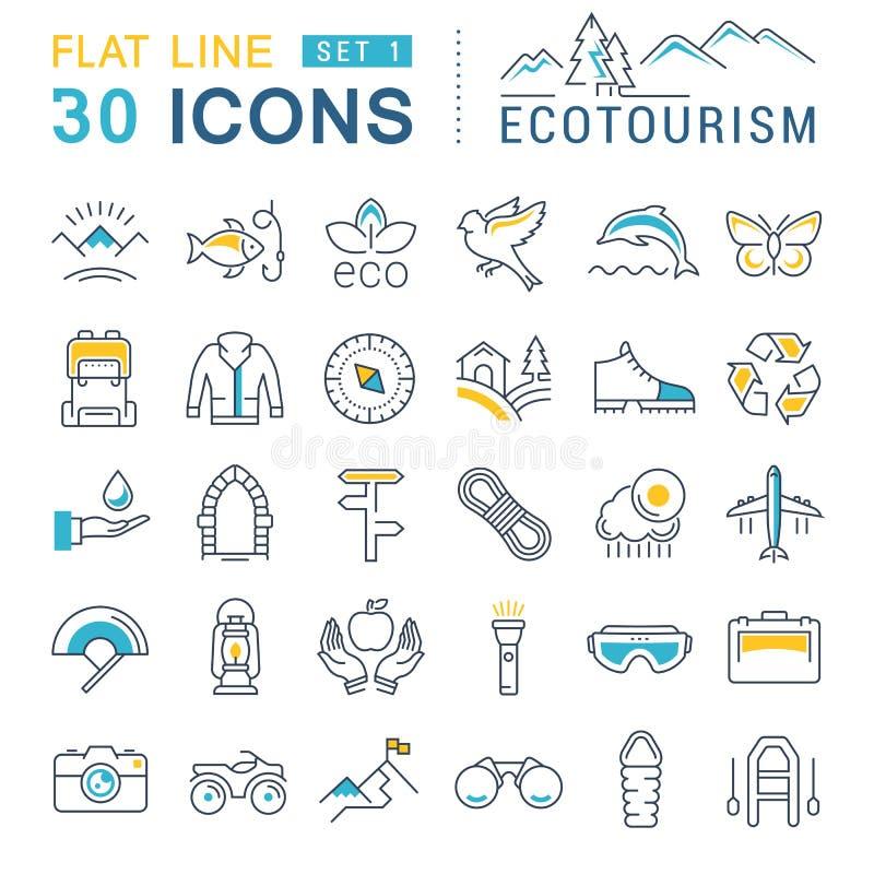 Placez la ligne plate éco-tourisme de vecteur d'icônes illustration stock