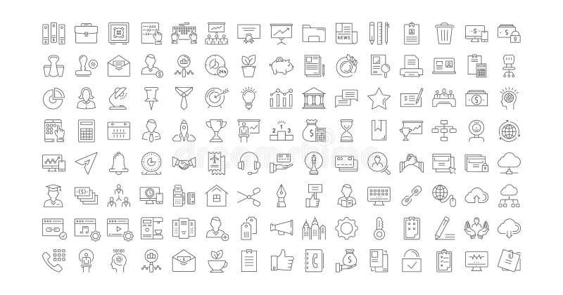 Placez la ligne plate bureau et affaires de vecteur d'icônes illustration de vecteur