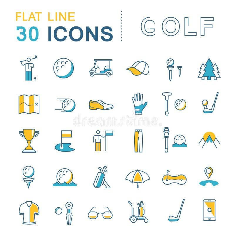 Placez la ligne plate golf de vecteur d'icônes illustration libre de droits