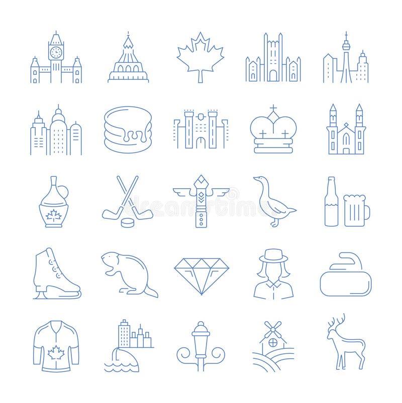 Placez la ligne plate icônes Ottawa de vecteur illustration libre de droits