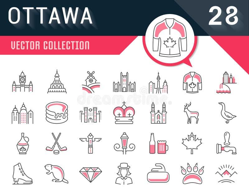Placez la ligne plate icônes Ottawa de vecteur illustration stock