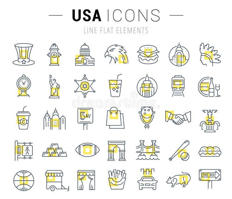 Placez la ligne plate icônes Etats-Unis et Amérique de vecteur illustration stock