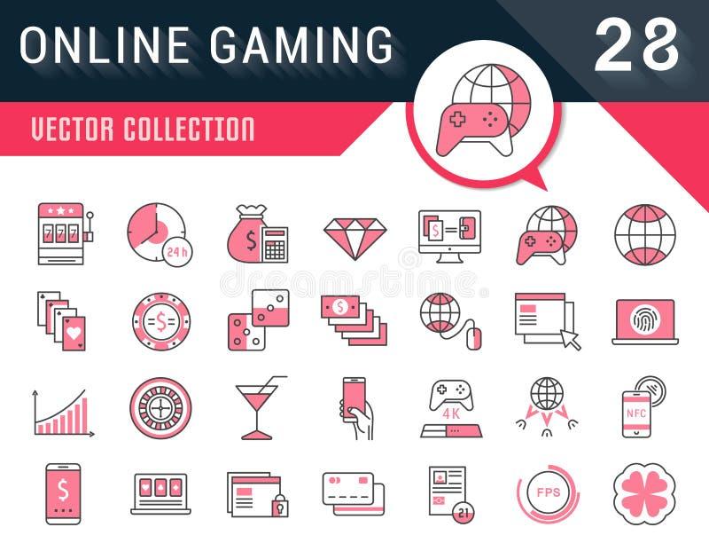 Placez la ligne plate jeu en ligne de vecteur d'icônes illustration de vecteur
