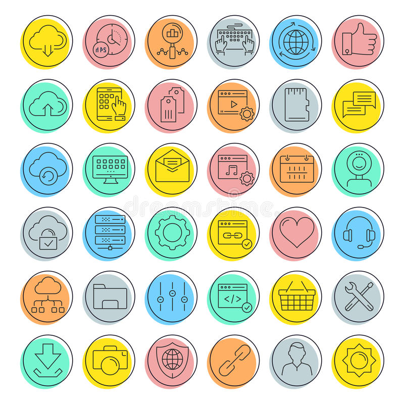 Placez la ligne plate les icônes SEO et le web design de vecteur illustration libre de droits
