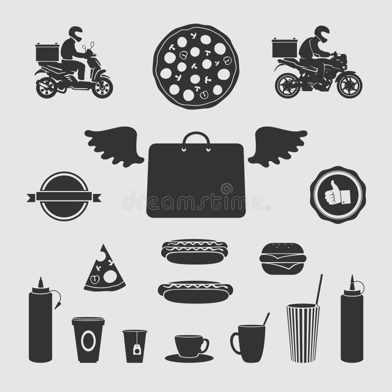 Placez la livraison de nourriture de symboles illustration stock
