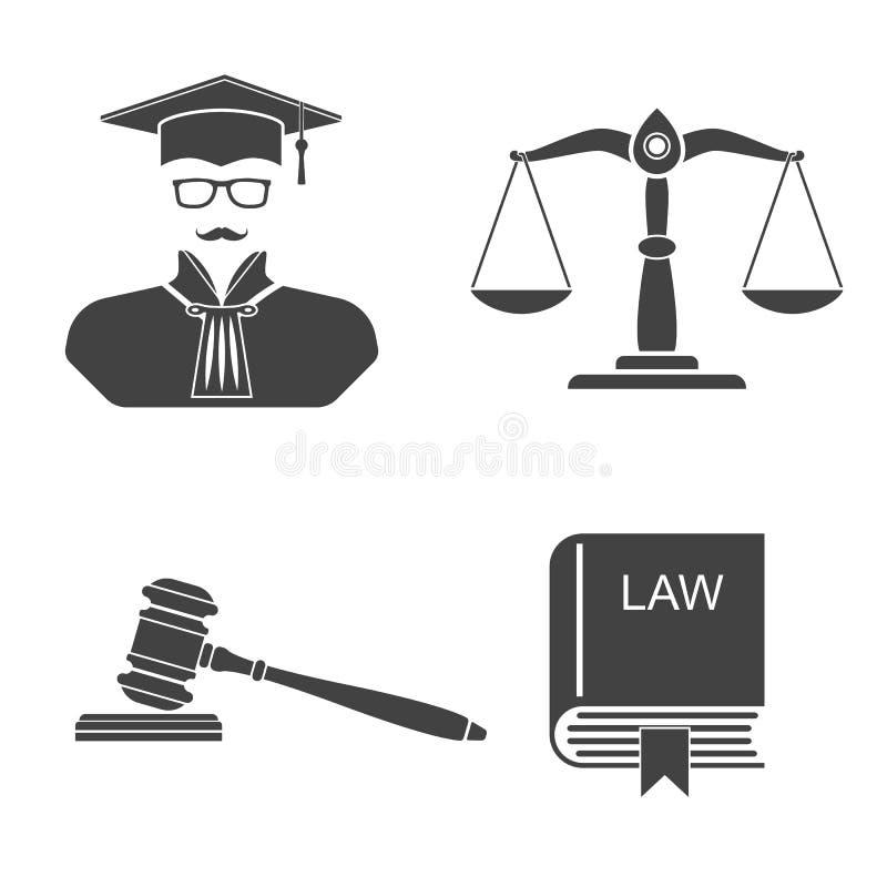 Placez la loi et la justice d'icônes illustration de vecteur