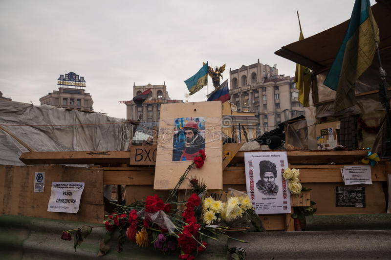 Placez la mémoire du protestataire assassiné Sergei Migoyan, Euromaidan photo libre de droits