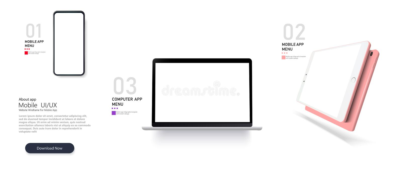 Placez la maquette des dispositifs réalistes Smartphone, ordinateur portable illustration stock