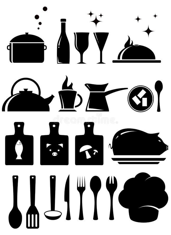 Placez la silhouette d'outils de cuisine illustration libre de droits
