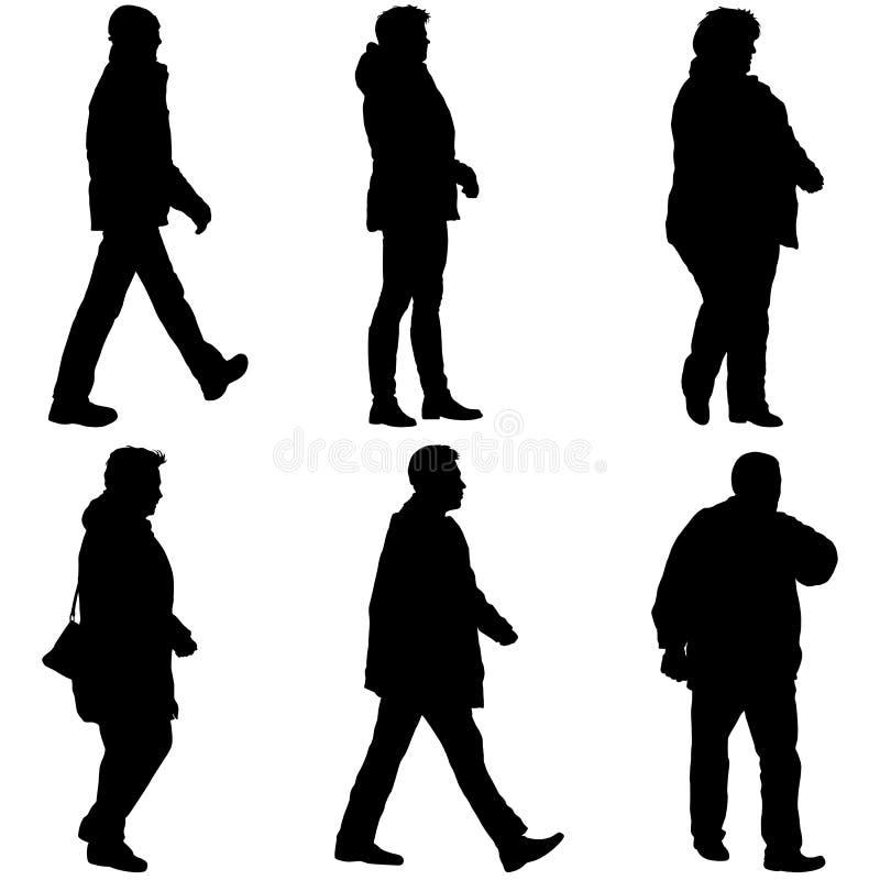 Placez la silhouette des personnes marchant sur le fond blanc illustration libre de droits