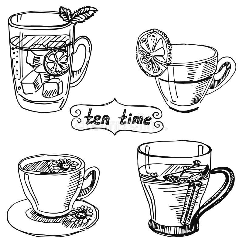 Placez la tasse de thé illustration de vecteur