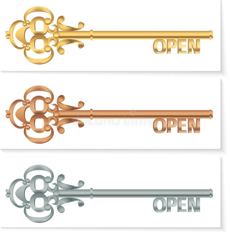 placez la touche fonctions étendues de vintage pour ouvrir l'argent en bronze illustration stock