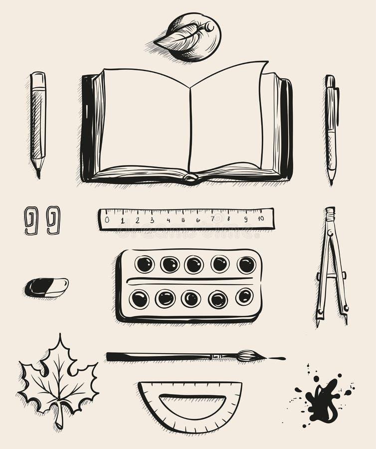 Placez la vue supérieure de fournitures de bureau d'école Livre ouvert, pomme, stylo, peintures d'aquarelle, gomme, feuille d'éra illustration de vecteur