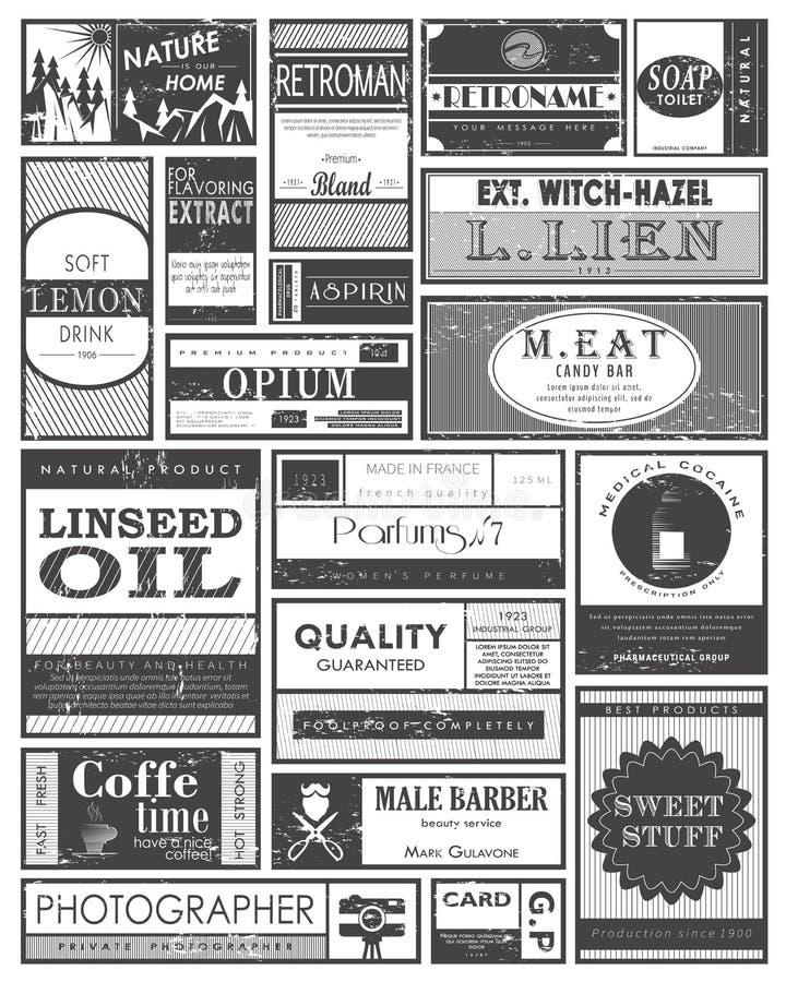 Placez labels des rétros ou de cru ou des étiquettes, autocollants illustration stock