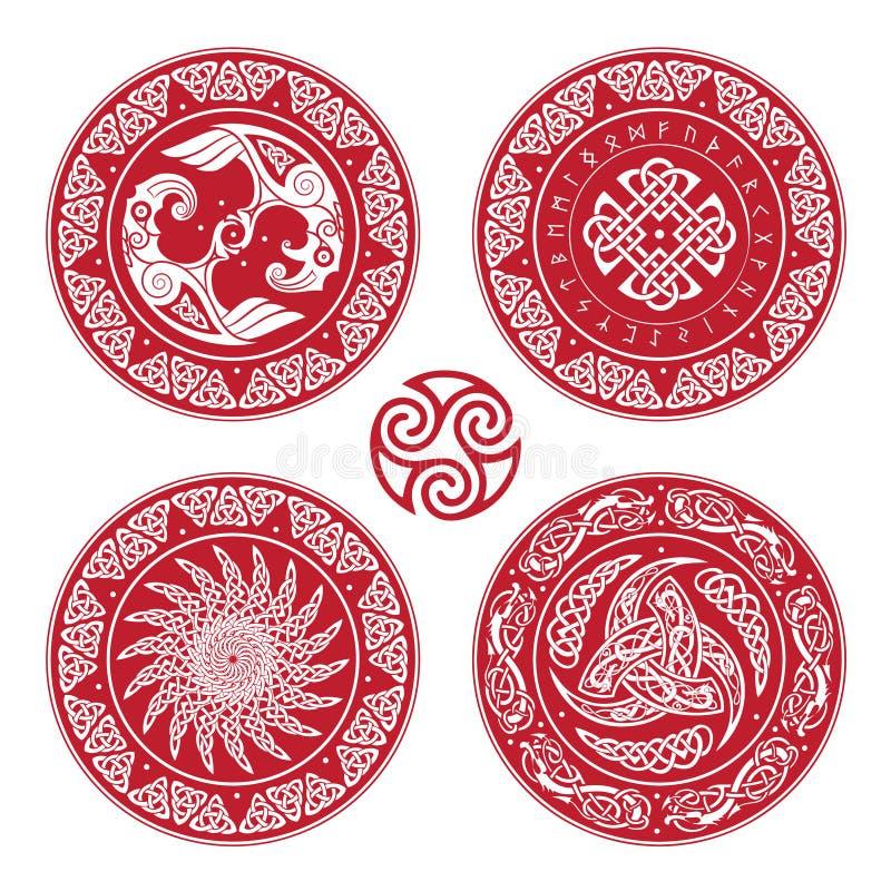 Placez le bouclier de Viking, décoré d'un modèle scandinave des dragons et de l'Aegishjalmur, barre de barre de crainte de la ter illustration stock