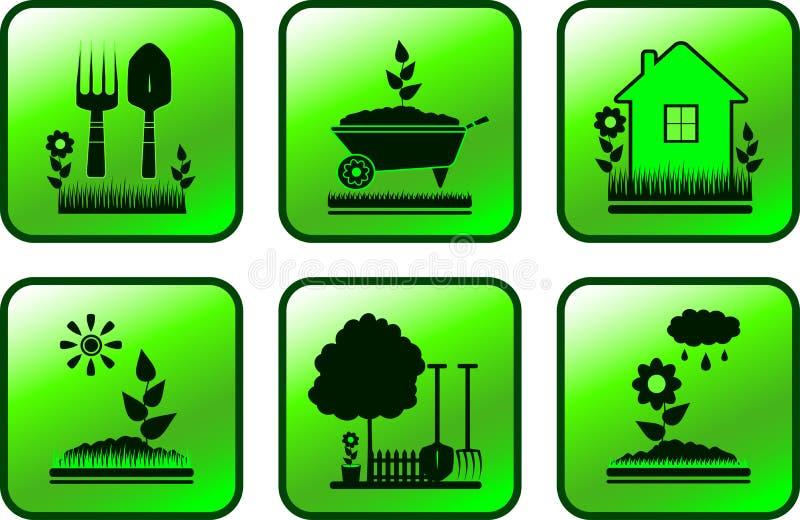 Placez le bouton avec des objets de jardin illustration stock