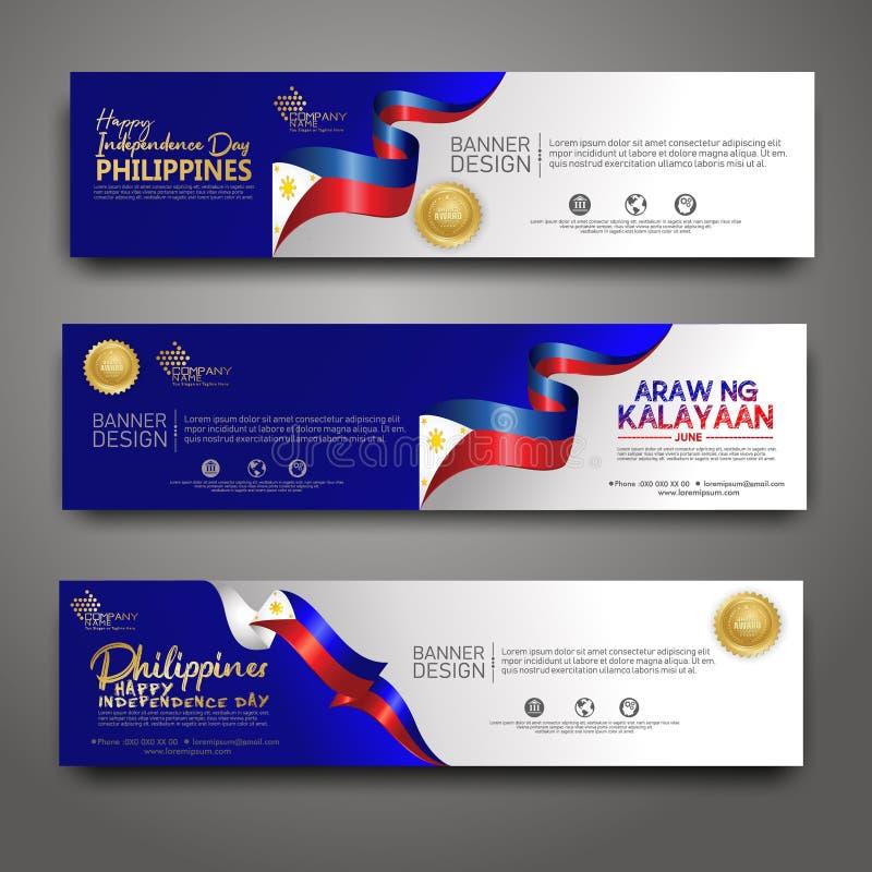 Placez le calibre de conception de bannière Fond moderne de Philippines de Jour de la D?claration d'Ind?pendance heureux illustration stock