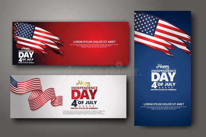 Placez le calibre de conception de banni?re Quatrième de Jour de la Déclaration d'Indépendance de juillet, illustration de vecteu illustration de vecteur