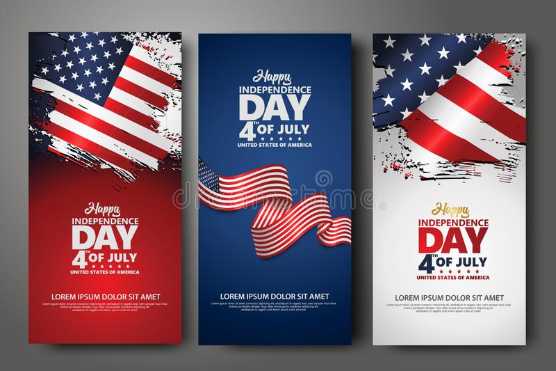 Placez le calibre de conception de banni?re Quatrième de Jour de la Déclaration d'Indépendance de juillet, illustration de vecteu illustration stock