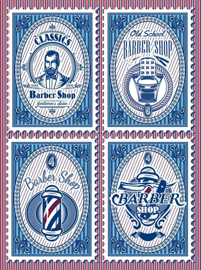 Placez le calibre des timbres avec le raseur-coiffeur d'éléments illustration de vecteur