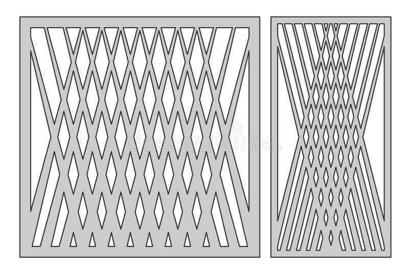 Placez le calibre pour la coupure Ligne carrée modèle de diagonale Cu de laser illustration stock