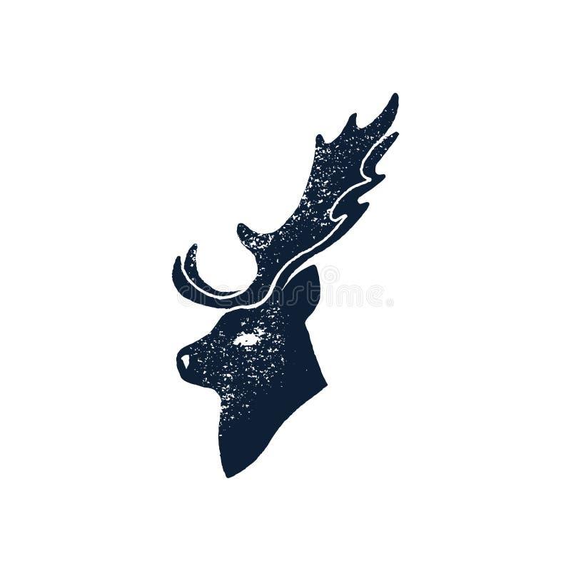 Placez le grunge de silhouette de cerfs communs d'aspiration de main Illustration de vecteur d'un mâle animal sauvage d'isolement illustration de vecteur