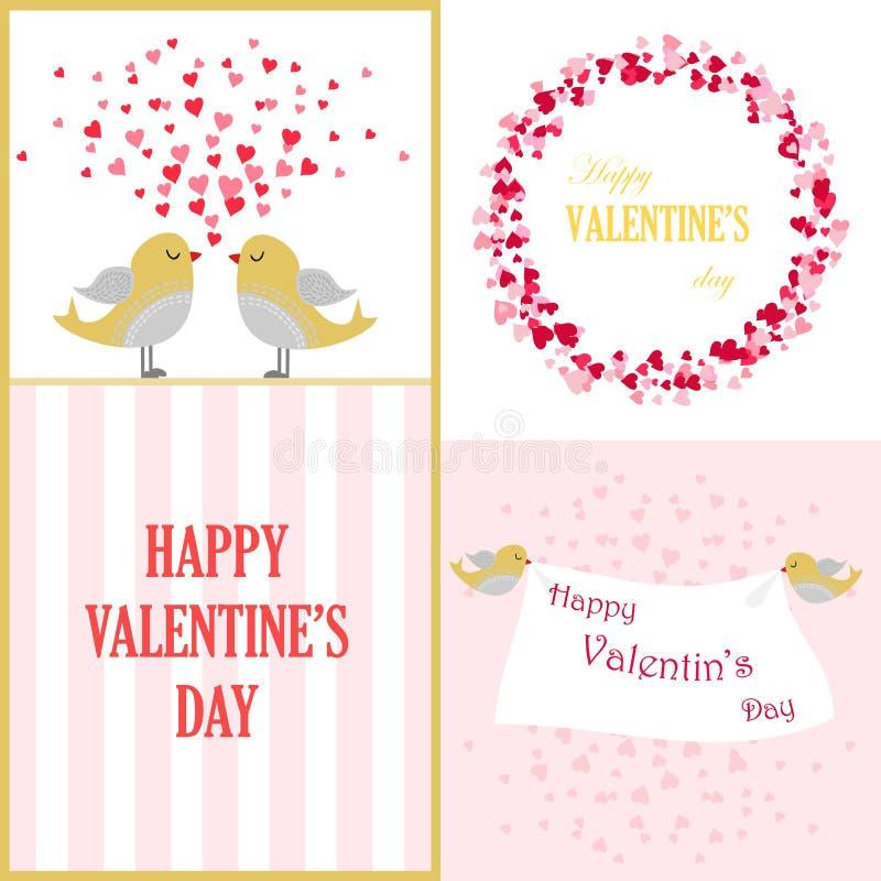 Placez le jour heureux du ` s de Valentine de cartes de voeux Vecteur illustration libre de droits