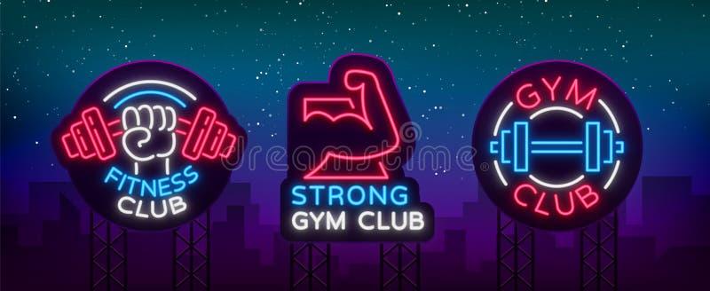 Placez le logo se connecte le thème de forme physique, bodybuilding dans le style au néon d'isolement, illustration de vecteur Ba illustration libre de droits