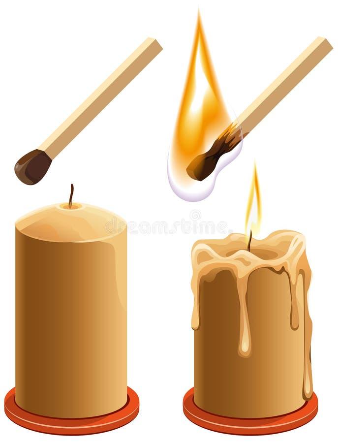 Placez le match et la bougie Nouveau et brûlures illustration stock