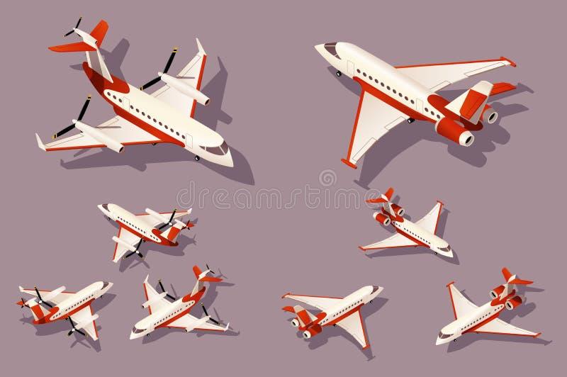 Placez le milieu et le petit avion pour le transport par avion illustration stock