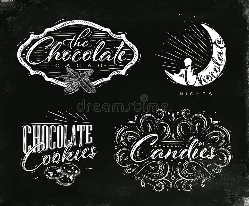 Placez le noir de labels de chocolat illustration libre de droits