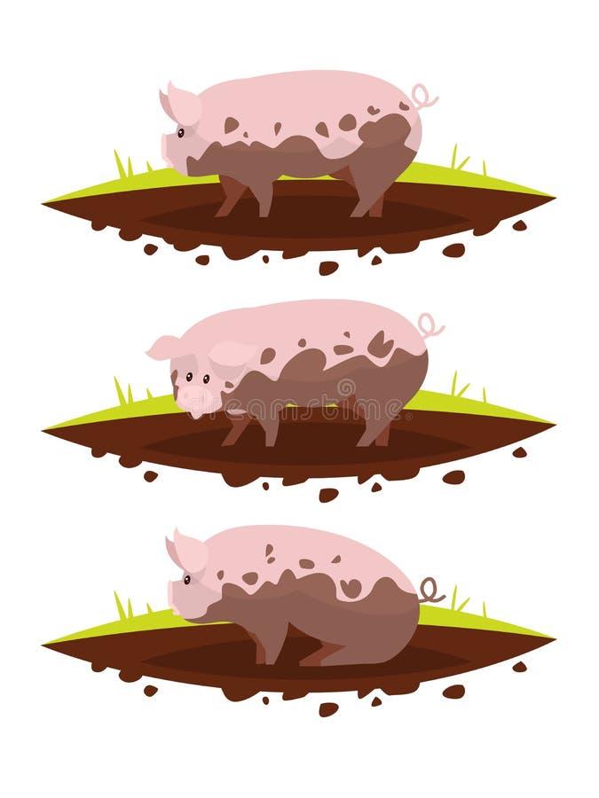 Download Placez Le Porc Dans Un Magma De Boue Illustration De Vecteur Illustration Stock - Illustration du illustration, cartoon: 76079461
