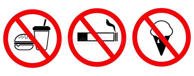Placez le signe aucune nourriture aucune crème glacée aucune fumée illustration libre de droits