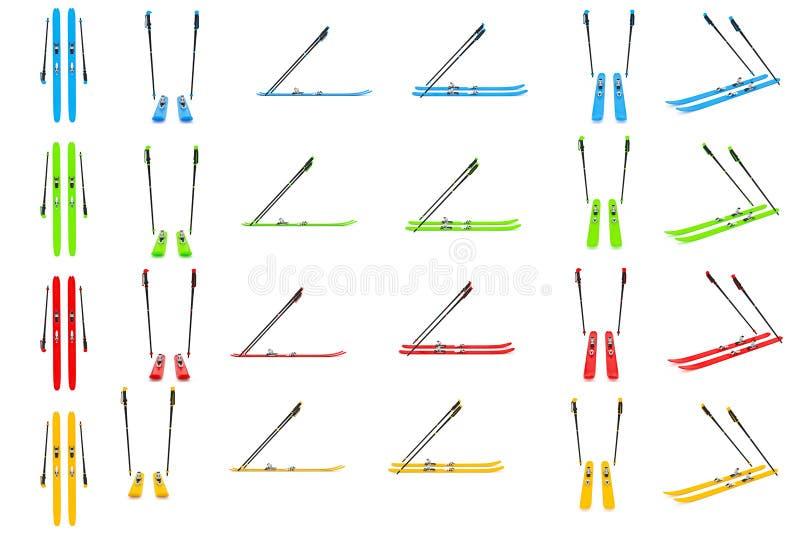 Placez le ski, couleur de poteaux de ski illustration de vecteur