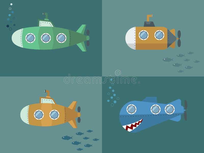 Placez le style submersible de bande dessinée, conception plate photo stock