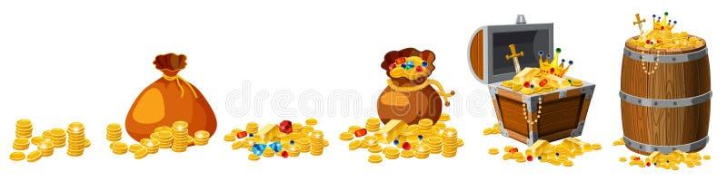 Placez le trésor, or, pièces de monnaie, barres, bijoux, couronne, épée, coffre, baril, le vecteur, d'isolement, style de bande d illustration libre de droits