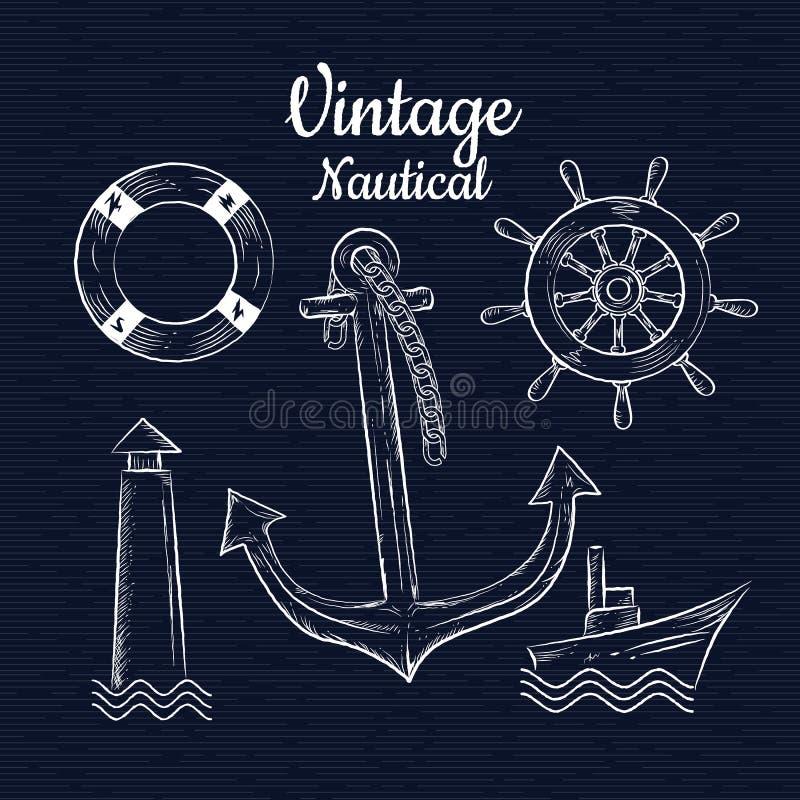 Placez le vecteur tiré par la main de nautica de vintage illustration libre de droits