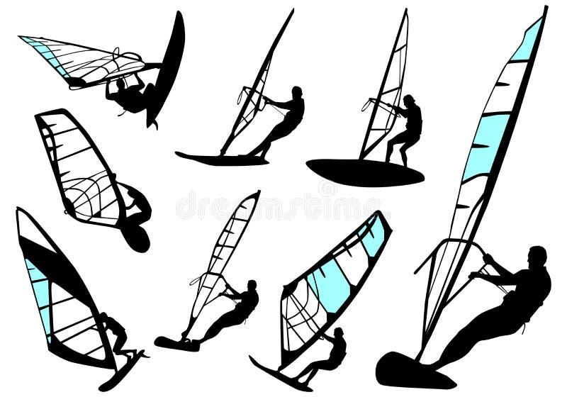 placez le vecteur windsurfing illustration de vecteur