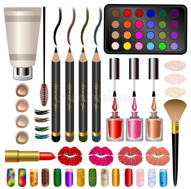 Placez les échantillons, les différents cosmétiques et le maquillage illustration libre de droits