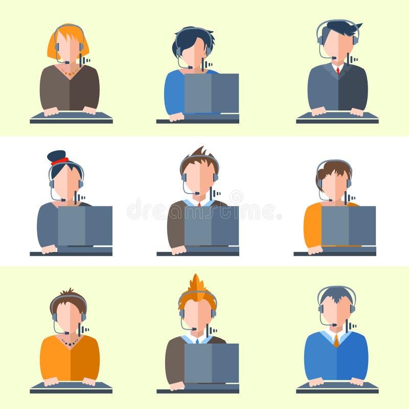 Placez les écouteurs d'opérateurs de centre d'appels, ordinateurs illustration libre de droits