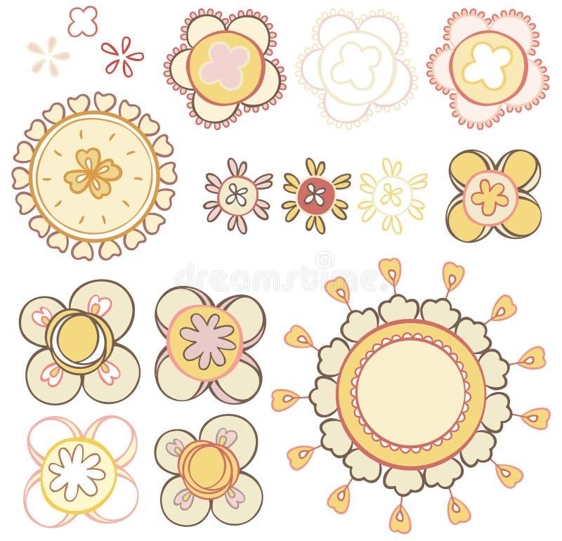 Placez les éléments des fleurs abstraites illustration libre de droits